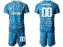 Mens 19-20 Soccer Juventus Club ( Custom Made ) Blue Printing Second Away Short Sleeve Suit Jersey