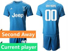Mens 19-20 Soccer Juventus Club Current Player Blue Second Away Short Sleeve Suit Jersey