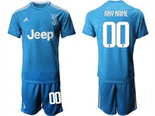 Mens 19-20 Soccer Juventus Club ( Custom Made ) Blue Second Away Short Sleeve Suit Jersey