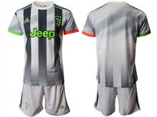 Mens 19-20 Soccer Juventus Club ( Custom Made ) Gray Black Stripe Short Sleeve Suit Jersey