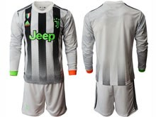 Mens 19-20 Soccer Juventus Club ( Custom Made ) Gray Black Stripe Long Sleeve Suit Jersey