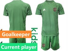 Kids Soccer Russia National Team Current Player Dark Green Goalkeeper 2020 European Cup Short Sleeve Suit Jersey