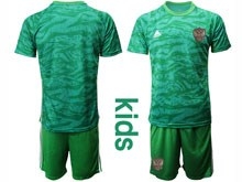Kids Soccer Russia National Team ( Custom Made ) Green Goalkeeper 2020 European Cup Short Sleeve Suit Jersey