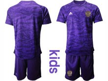 Kids Soccer Russia National Team ( Custom Made ) Purple Goalkeeper 2020 European Cup Short Sleeve Suit Jersey