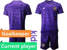Kids Soccer Russia National Team Current Player Purple Goalkeeper 2020 European Cup Short Sleeve Suit Jersey