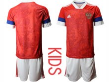 Kids Soccer Russia National Team ( Custom Made ) Red Home 2020 European Cup Short Sleeve Suit Jersey