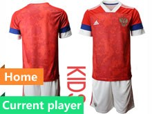 Kids Soccer Russia National Team Current Player Red Home 2020 European Cup Short Sleeve Suit Jersey