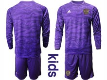 Kids Soccer Russia National Team ( Custom Made ) Purple Goalkeeper 2020 European Cup Long Sleeve Suit Jersey