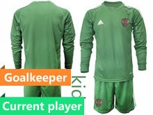 Kids Soccer Russia National Team Current Player Dark Green Goalkeeper 2020 European Cup Long Sleeve Suit Jersey