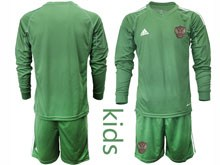 Kids Soccer Russia National Team ( Custom Made ) Dark Green Goalkeeper 2020 European Cup Long Sleeve Suit Jersey