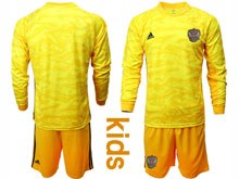 Kids Soccer Russia National Team ( Custom Made ) Yellow Goalkeeper 2020 European Cup Long Sleeve Suit Jersey