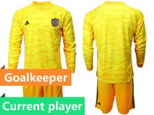 Mens Soccer Russia National Team Current Player Yellow Goalkeeper 2020 European Cup Long Sleeve Suit Jersey
