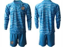 Mens Soccer Russia National Team ( Custom Made ) Blue Goalkeeper 2020 European Cup Long Sleeve Suit Jersey