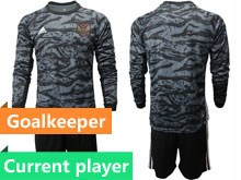 Mens Soccer Russia National Team Current Player Black Goalkeeper 2020 European Cup Long Sleeve Suit Jersey