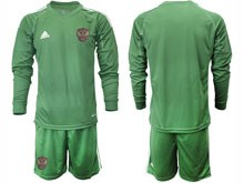 Mens Soccer Russia National Team ( Custom Made ) Dark Green Goalkeeper 2020 European Cup Long Sleeve Suit Jersey