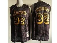 Mens Nba Los Angeles Lakers #32 Magic Johnson Black 1984-85 Hardwood Classics Swingman Jersey