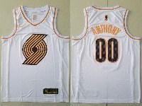 Mens Nba Portland Trail Blazers #00 Carmelo Anthony White Gold Nike Swingman Jersey