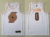 Mens Nba Portland Trail Blazers #0 Damian Lillard White Gold Nike Swingman Jersey