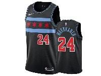 Mens 2018-19 Nba Chicago Bulls #24 Lauri Markkanen Black Nike City Edition Jersey