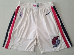 Mens 2019-20 Nba Portland Trail Blazers White City Edition Nike Shorts