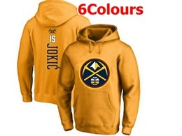 Mens Nba Denver Nuggets #15 Nikola Jokic Hoodie Jersey With Pocket 6 Colors