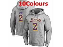 Mens Nba Los Angeles Lakers #2 Lonzo Ball Hoodie Jersey With Pocket 10 Colors