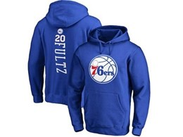 Mens Nba Philadelphia 76ers #20 Markelle Fultz Blue Hoodie Jersey With Pocket