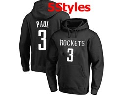 Mens Nba Houston Rockets #3 Chris Paul Black Hoodie Jersey With Pocket 5 Styles