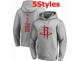 Mens Nba Houston Rockets #3 Chris Paul Gray Hoodie Jersey With Pocket 5 Styles