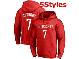 Mens Nba Houston Rockets #7 Anthony Red Hoodie Jersey With Pocket 5 Styles