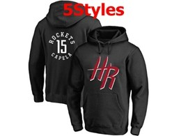 Mens Nba Houston Rockets #15 Capela Black Hoodie Jersey With Pocket 5 Styles