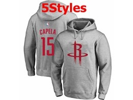 Mens Nba Houston Rockets #15 Capela Gray Hoodie Jersey With Pocket 5 Styles
