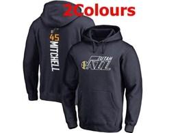 Mens Nba Utah Jazz #45 Donovan Mitchell Hoodie Jersey With Pocket 2 Colors