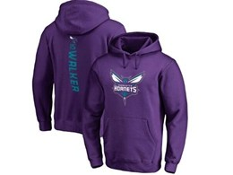 Mens Nba Charlotte Hornets #15 Kemba Walker Purple Hoodie Jersey With Pocket