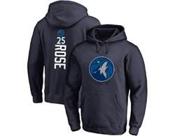 Mens Nba Minnesota Timberwolves #25 Derrick Rose Blue Hoodie Jersey With Pocket