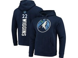 Mens Nba Minnesota Timberwolves #22 Andrew Wiggins Blue Hoodie Jersey With Pocket