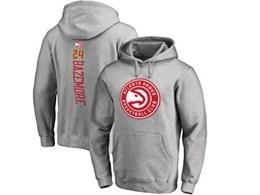 Mens Nba Atlanta Hawks #24 Bazemore Gray Hoodie Jersey With Pocket