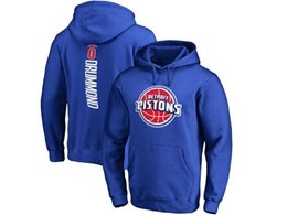 Mens Nba Detroit Pistons #0 Andre Drummond Blue Hoodie Jersey With Pocket