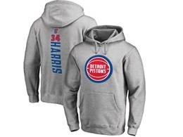 Mens Nba Detroit Pistons #34 Harris Gray Hoodie Jersey With Pocket
