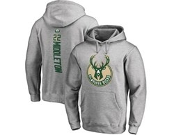 Mens Nba Milwaukee Bucks #22 Khris Middleton Gray Hoodie Jersey With Pocket