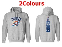 Mens Nba Oklahoma City Thunder #13 Paul George Hoodie Jersey With Pocket 2 Colors
