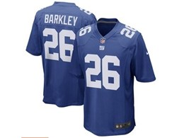 Mens Nfl New York Giants #26 Saquon Barkley Blue Game Jersey