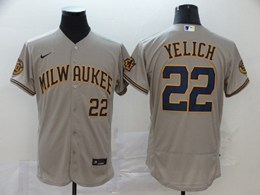 Mens Mlb Milwaukee Brewers #22 Christian Yelich Gray Flex Base Jersey