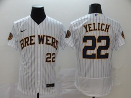 Mens Mlb Milwaukee Brewers #22 Christian Yelich White Stripe Flex Base Nike Jersey
