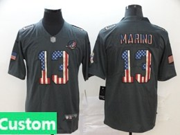 Mens Miami Dolphins Custom Made Black Pays Tribute To Retro Flag Carbon Nike Limited Jerseys