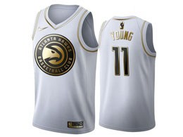 Mens Nba Atlanta Hawks #11 Trae Young White Gold Nike Swingman Jersey