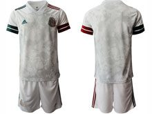 Mens 20-21 Soccer Mexico National Team ( Custom Made ) Gray Away Short Sleeve Suit Jersey