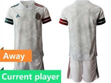 Mens 20-21 Soccer Mexico National Team Current Player Gray Away Short Sleeve Suit Jersey