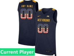 Mens Ncaa Nba 2019 West Virginia Mountaineers Current Player Blue Usa Flag Nike Jersey
