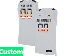 Mens Ncaa Nba 2019 West Virginia Mountaineers Custom Made White Usa Flag Nike Jersey